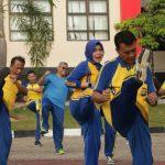 Rutinitas Jumat Pagi, Polda Kepri Laksanakan Senam Bersama dan Peningkatan Kemampuan Karate