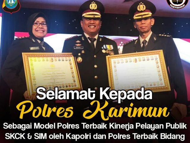 Luar Biasa, Polres Karimun Mendapat 2 Penghargaan Oleh Kapolri di Bidang SKCK dan SIM