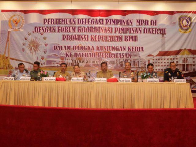 Wakil Ketua MPR RI Adakan Pertemuan Delegasi Pimpinan MPR RI dengan Forum Koordinasi Pimpinan Daerah Provinsi Kepri
