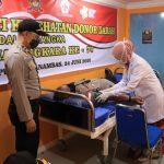 MENYAMBUT HARI BHAYANGKARA KE- 74 PERSONIL POLRES KEP. ANAMBAS BESERTA BHAYANGKARI MELAKSANAKAN DONOR DARAH DI UPT. RSUD PAYALAMAN KEC. KUTE SIANTAN