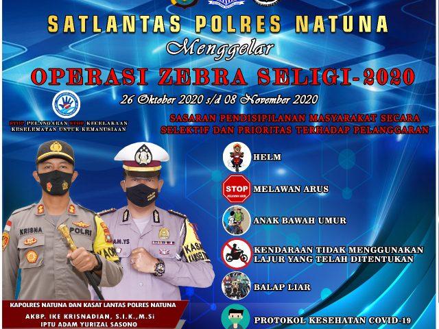 Polres Natuna Gelar Operasi Zebra Seligi-2020 Mulai 26 Oktober 2020