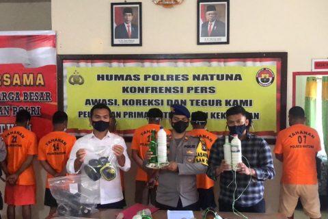 7 pelaku Pengeboman ikan di perairan Midai di Tangkap Satpolairud Polres Natuna